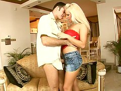 Fanciable floosie Sun lickes his body and gives blowjob