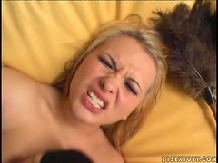 Blond head in stockings Katja Kassin gets her tight anus drilled