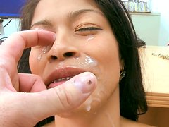 Slutty Maribel Hill gets thrusted in a missionary position and later gives a hot blowjob