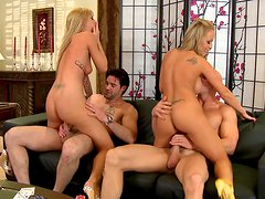 Filthy hookers Brooke Banner and Jessica Moore get boned in foursome