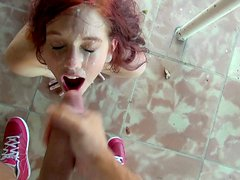 Adorable redhead snow white cutie gets a huge load on her face