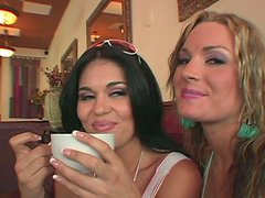 Curvaceous chubby hookers Flower Tucci and Olivia OLovely fuck waiter