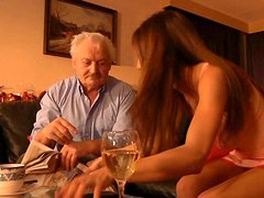 Teeny brown haired gal Alice Romain humping on old cock