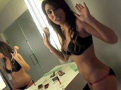 Nathalie Nunez was caught while putting make-up on and talked over to give a blowjob