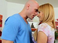Charmong blonde Lea Lexis gets her tits fondled