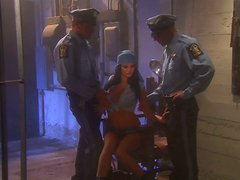 Seductive inmate Alektra Blue fucks two police officers