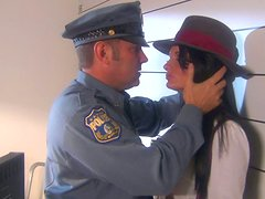 Gangster girl Alektra Blue sucks police dick in the police station