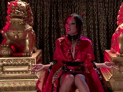 Wicked brunette Kaylani Lei dresses like a horny Aisan freak and masturbates