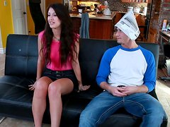 Cute and horny Karina White blows dick to get a room in the new house