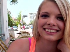 Bright like star Stella Banxxx starts masturbating in the street