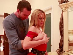 Sexy blonde vixen Amy Brooke gets horny for the tall guy