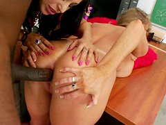 Naughty school girls Darla Crane and Britney Stevens are getting a hard anal penetration in the school class