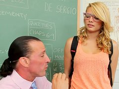 Busty blonde Stella Banxxx having sex fun with her teacher