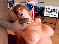 Ginger mommy Darla Crane uses from front and rear in steamy threesome