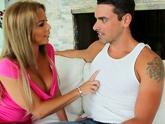 Lucky bitch Amber Lynn Bach sucks the cock of a handsome dude