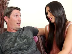 Exotic brunette Shane Dos Santos gives amazing fellatio on the sofa
