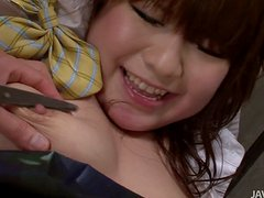 Japanese school girl Meina and her pimple-bearing dildo