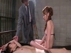 Dirty facesitting performed by wicked brown haired jap slut