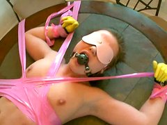 Nasty maid Gioa Biel is tied up to the table and banged harshly