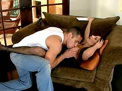Hot Brunette get her pussy eaten on the couch