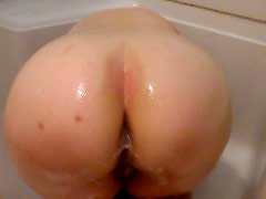 Big white booty in shower
