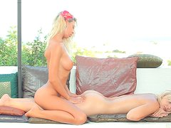 Curvy blonde babes with fabulous bodies tits and bootie massage.
