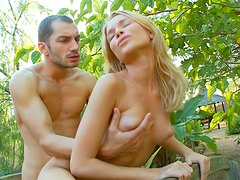 Hot threesome party in the park with two young sluts