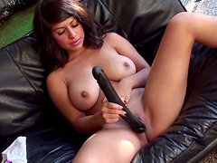 Exotic girlie plays with her pussy using small vibrator