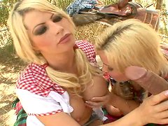 Countryside chicks Brooke Haven & Emma Heart blow cowboy dick