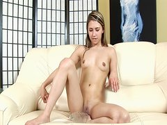 Skinny Marsha masturbates with glass bottle and dildo