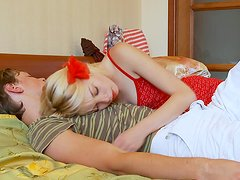 Horny housewife gives blowjob to her sleeping husband