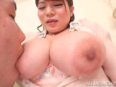 Kurumi Kokoro the nice babe with pigtails sucks a cock