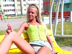 Blonde teen is horny and naughty