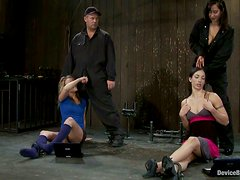 Blonde and Brunette Dominated and Forced to Go Lesbian in Bondage Vid