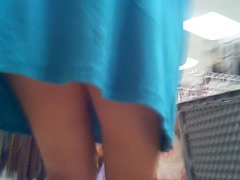 Upskirt Tall MILF in Blue skirt