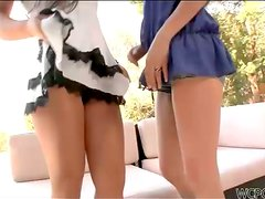 Two Girls Playing with One Cock in Interracial FFM Threesome