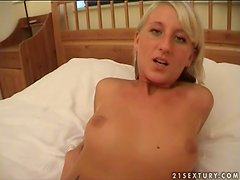 Wickey sucks her man's dick and gets cum on her face