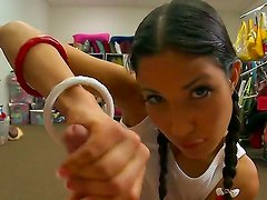 Teen brunette girlfriend Suzanne Kelly with two innocent-looking but very sexy pigtails and