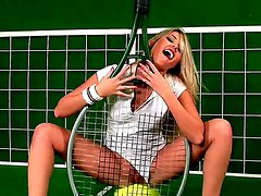 Wonderful blondie Cherry Jul is pretending to be a tennis star, while she is posing
