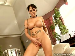 Filthy and petite brunette Cony Ferrara takes it double