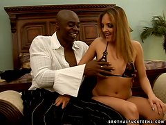 Lexi Love the horny blonde blows a cock and gets fucked hard