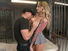 Gorgeous blonde girl gets fucked in a prison ward