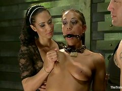 Fetish couple are torturing this hot brunette