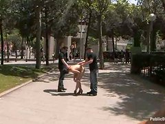 Gagged and chained girl gets fucked in the street