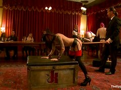 Hot brunettes gets humiliated in private gentlemen club