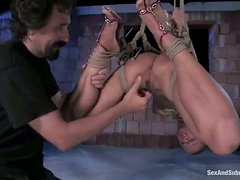 Honey sucks a dick being suspended and hogtied