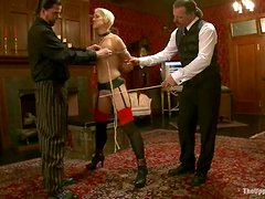 Dylan Ryan and Juliette March get fucked by two guys in BDSM scene