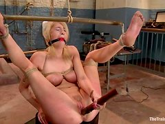 Blonde cutie Allie James gets her cunt toyed and stunningly fucked