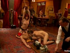 Ariel X and Odile get humiliated and forced to rub each other's vags