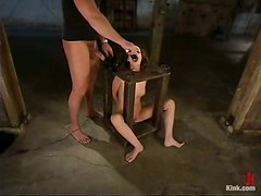 Annika gets blindfolded, gagged and fucked hard